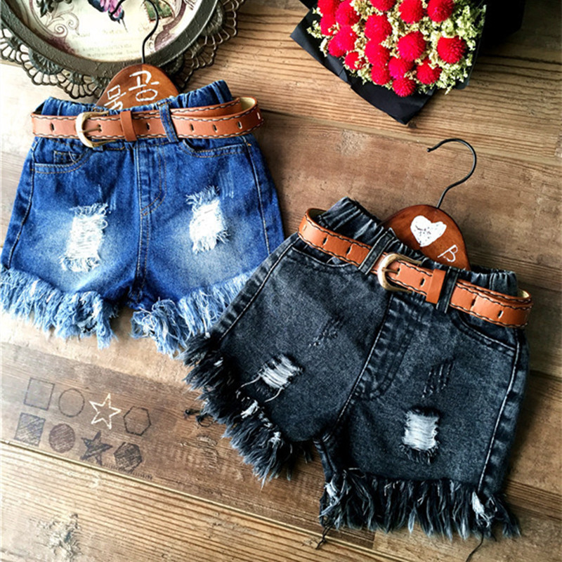 High Quality New Arrival 2016 Summer Baby Girls Shorts Fashion Kids Denim Shorts Toddler Ruffle Hole Jean Shorts For 2-8Y girls ruffle plain shorts