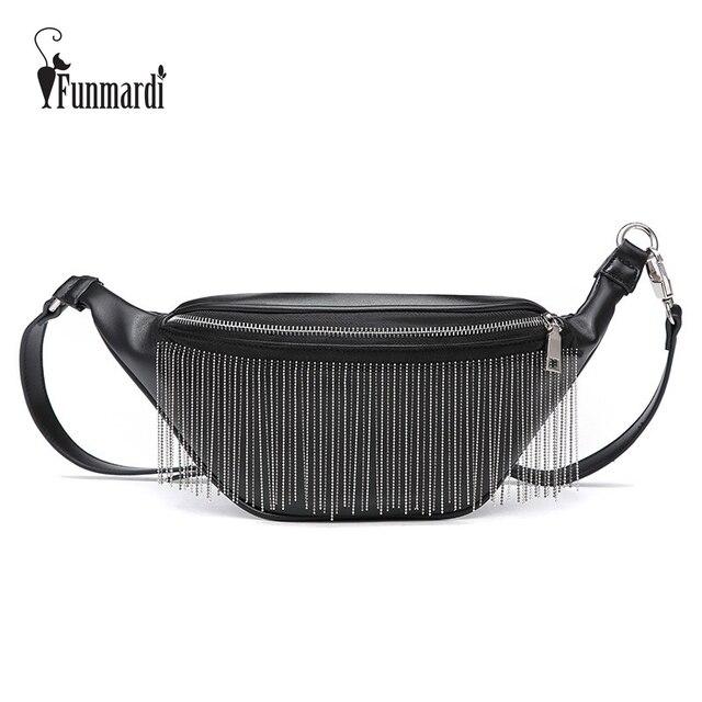 FUNMARDI Luxury Metal Tassel PU Leather Fanny Packs Brand Design Waist Bag Trendy Chest Bag New Fashion Waist Packs WLHB1767
