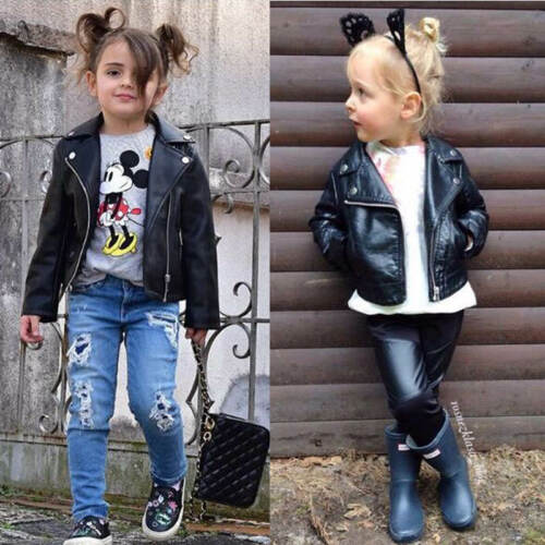 Kids Leather Jackets Motorcycle Jacket Cool Baby Boys Biker Coats Outwear Coat