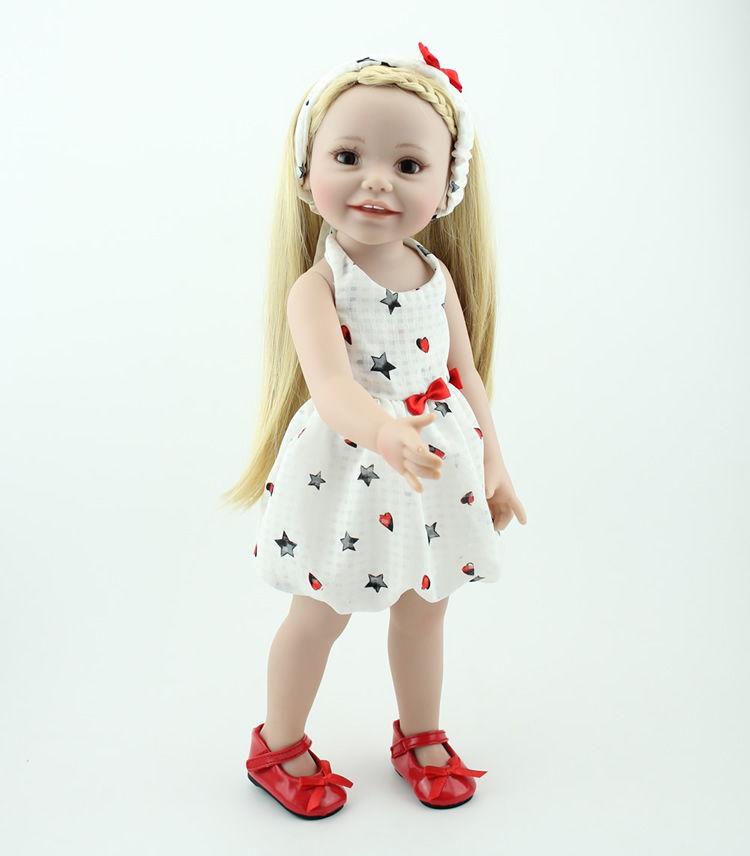 New Arrived Vinyl Lifelike Princess Doll 45cm Girl Dress Up Children Toy Birthday Present lifelike american 18 inches girl doll prices toy for children vinyl princess doll toys girl newest design