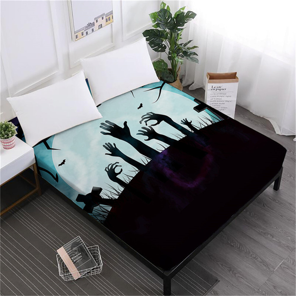 Halloween Horrible Night Bed Sheet Cartoon Zombie Fitted