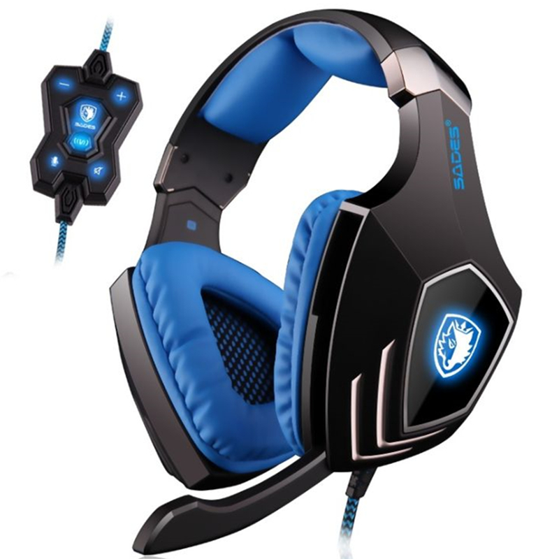 SADES A60 Profession Gaming Headset USB 7.1 Surround Sound Vibration Function Headphones Earphones with Mic for PC Game ...