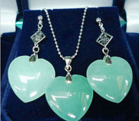 حار بيع @> الآنسة سحر الضوء الأخضر الحجر الطبيعي القلب فورتشن قلادة قلادة الأقراط مجموعة مجوهرات الطبيعية-العروس jewe