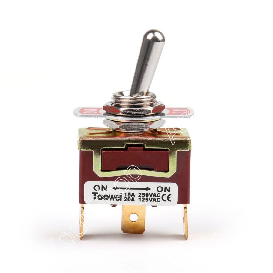Areyourshop Toggle Switch 2 Terminal 3Pin ON-ON 15A 250V Toggle Switch Boot SPDT Industrial Grade 15