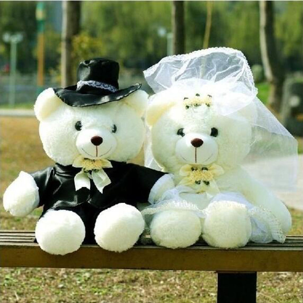 BOLAFYNIA Boda Floral Oso pareja boda Muñeca de peluche de regalo de boda de San Valentín peluche de juguete
