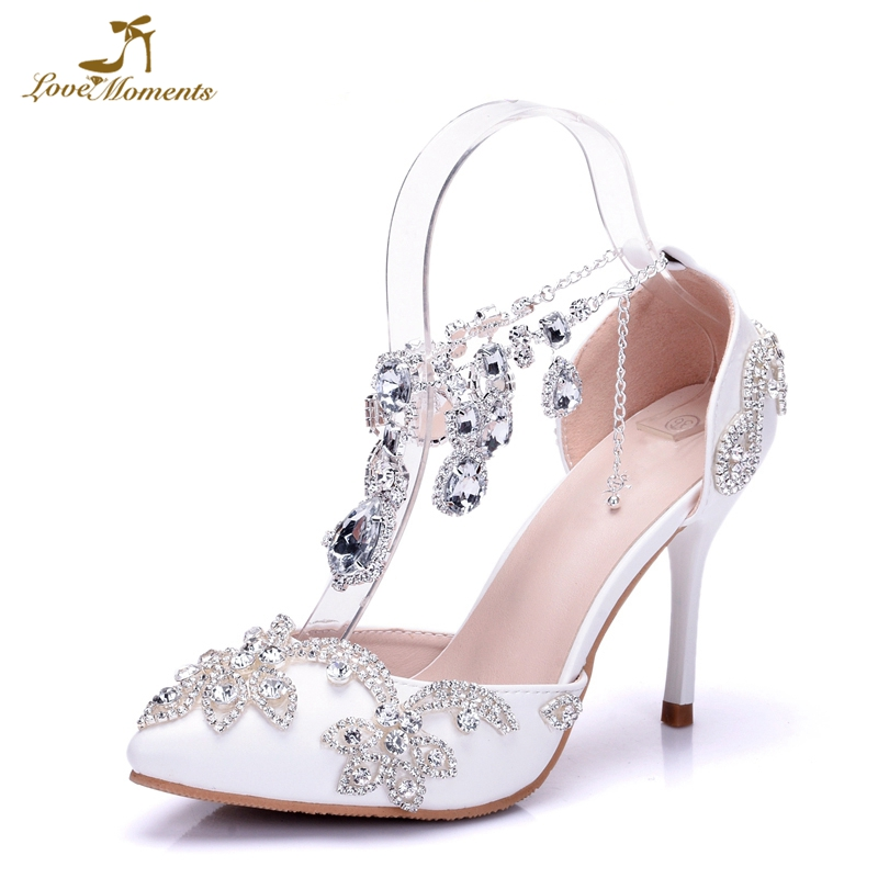 77d41ff70e0 Woman Summer Sandals White Wedding Bride Shoes Party Ladies Pumps Crystal  Rhinestone Pointed Toe High Heels