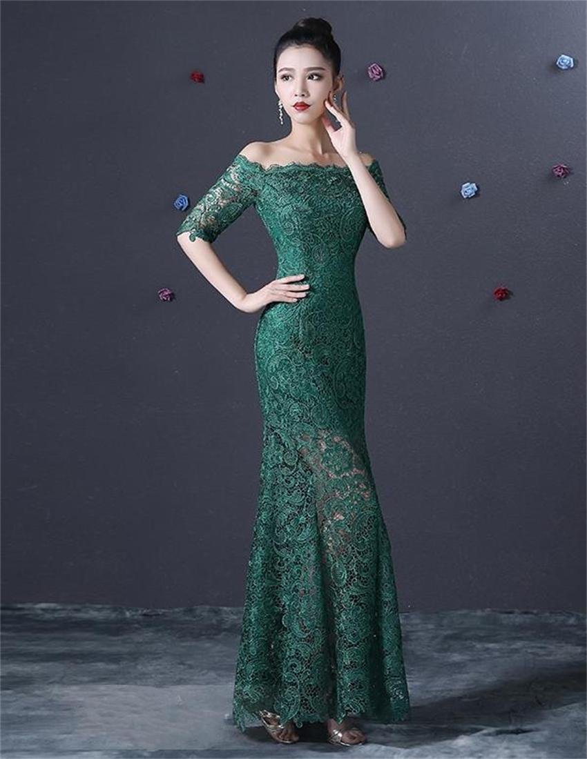 Increíble Vestido De Fiesta De Encaje Verde Bosquejo - Vestido de ...