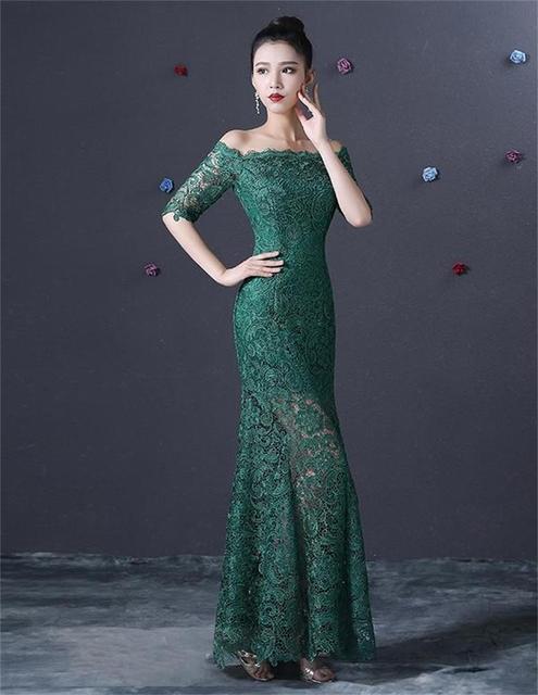 Vestidos De fiesta 2015 Sexy transparente verde esmeralda encaje sirena  vestido De noche con mangas Robe d124801e217f