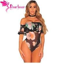 Dear Lover сексуальное боди Для женщин с открытыми плечами Black Mesh Цветочные рюшами облегающее боди Топ Ползунки Combinaison Шорты для женщин Хорошее качество