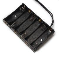 Оптовая продажа 100 шт./лот черный 9 В Пластик AA Батарея держатель с DC разъем ячейки контейнер для хранения 2A держатель для 6 шт. AA литий ионная