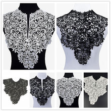 Beautiful Lace Neckline Embroidered  Fabric Polyester Floral for Garment Apparel Sewing Wedding Decoration Trim