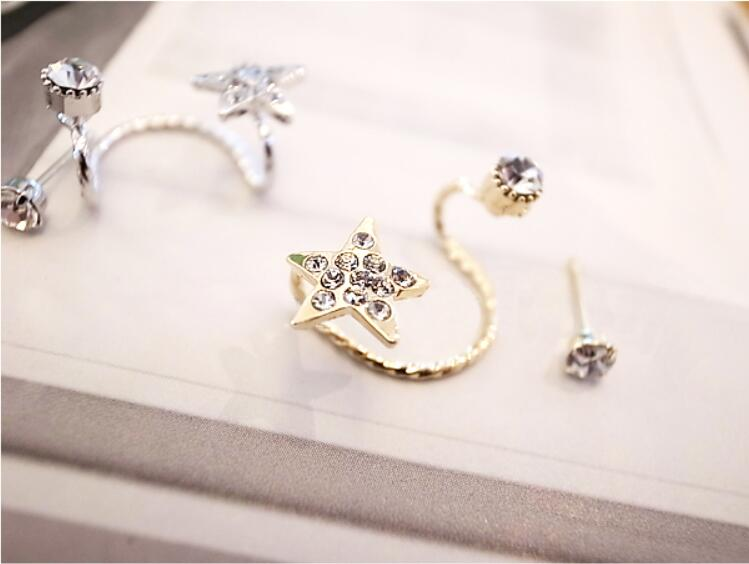 1 Piece Fashion Leaf Design Crystal Stud Earrings Tassel Earrings for Women Star Ear Cuff Jewelry Gold Color Silver Earrings 11