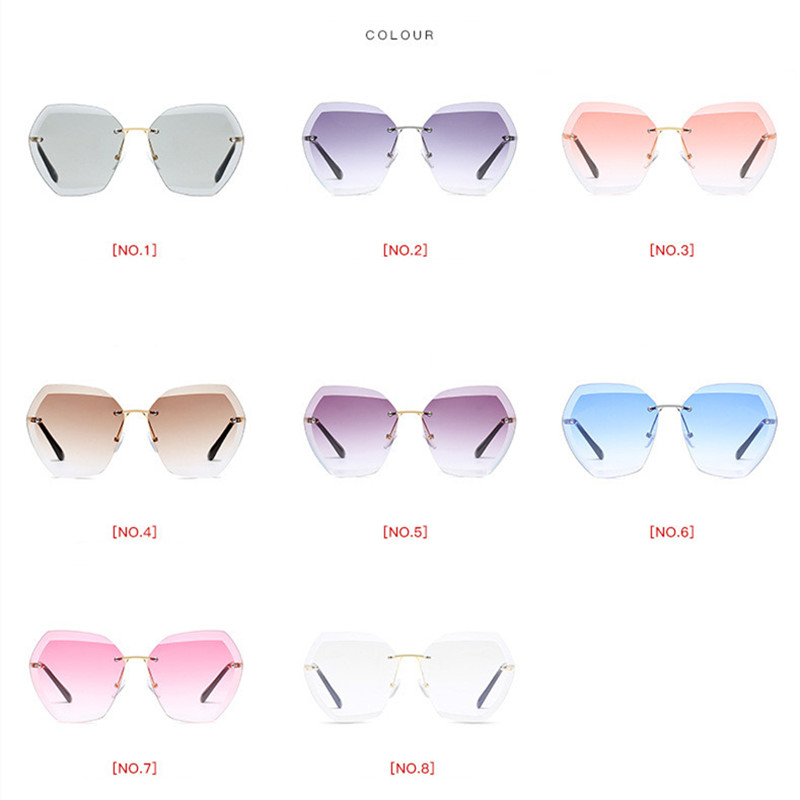 Luxury Vintage Rimless Sunglasses Women Brand Designer Oversized Retro Female Sunglass Sun Glasses For Women Lady Sunglass 2018 5