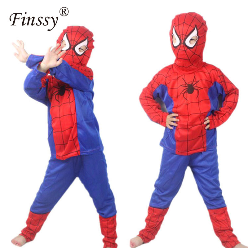Finssy Red Spiderman for Children Clothing Sets Spider Man Suit Halloween Party
