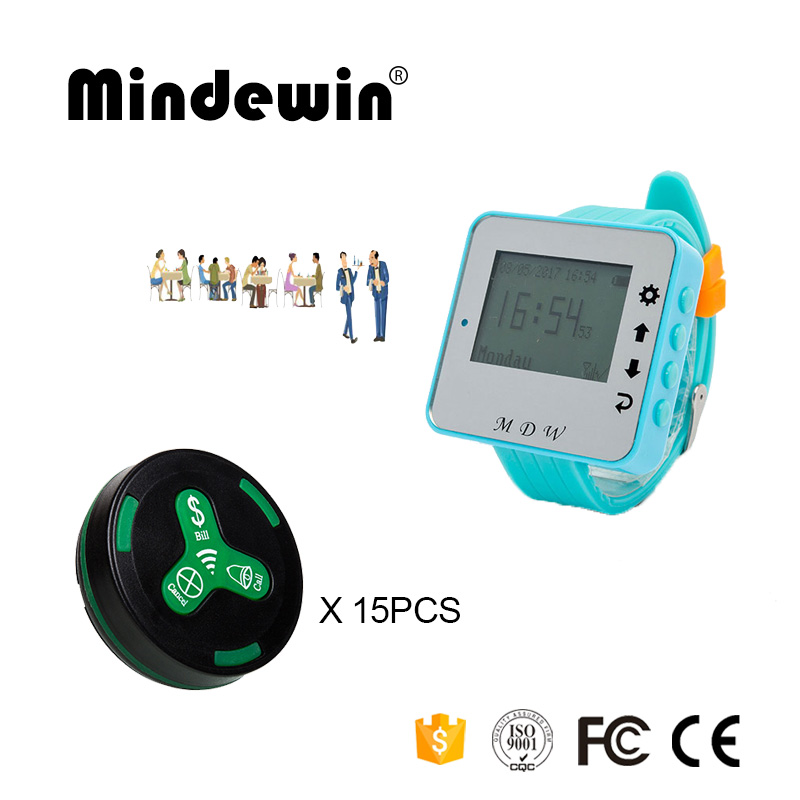 Mindewin Pager System for Restaurant 15PCS Table Call Button M-K-3 and 1PCS Watch Pagers M-W-1 Wireless Calling System service call bell pager system 4pcs of wrist watch receiver and 20pcs table buzzer button with single key