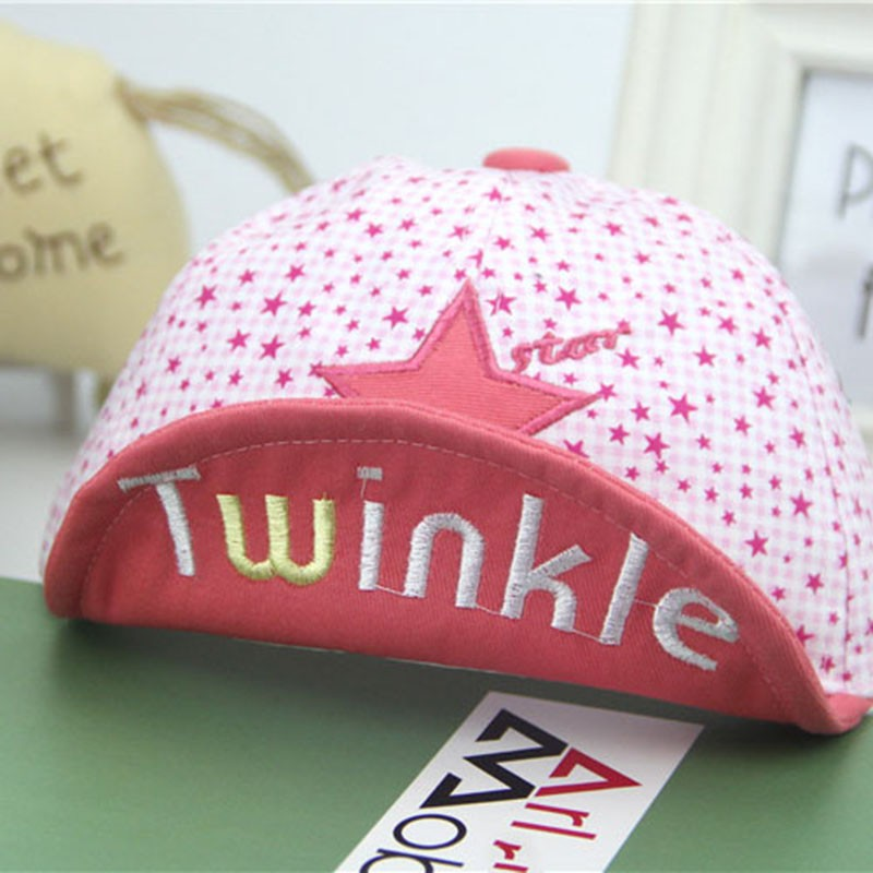 Close Up of Embroidered Twinkle and Star Baby's Baseball Cap - Brim Up, Pink
