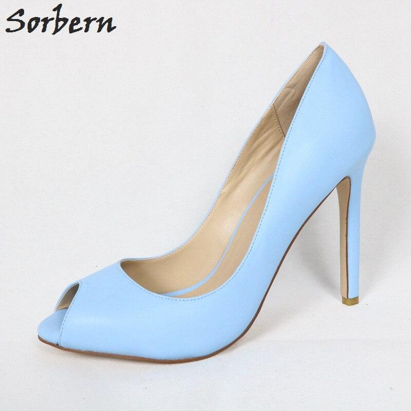 37872c4b2f3 Sorbern Sky Blue Peep Toe Women Pump Shoes High Heel Slip On Stilettos Ol  Footwear Sexy Heels Women'S Shoes Size 13 Custom Color