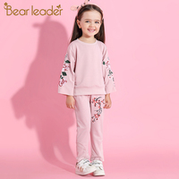 Bear Leader Girls Sets 2017 New Autunm Children Sets Flare Long Sleeve Flowers Embroidery Sweatshirts Pants