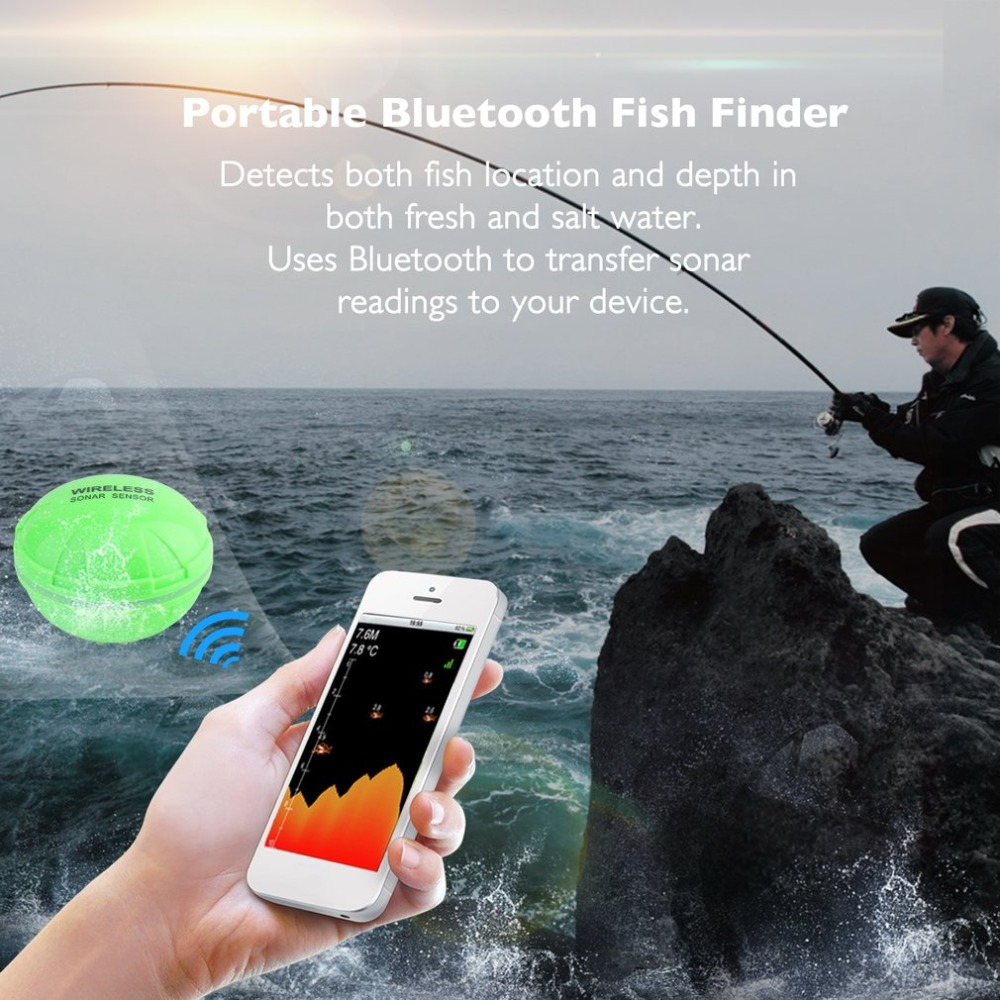 Portable Bluetooth Fish Finder, Sea Fish Detect Device, For IOS For Android, 25M/80FT Sonar Fishfinder, Wireless Fishing Detecto portable bluetooth fish finder sea fish detect device for ios for android 25m 80ft sonar fishfinder wireless fishing detector