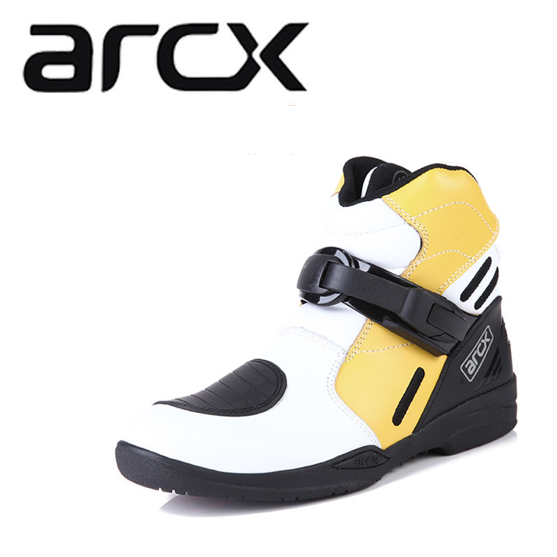 Genuine ARCX Off-road Cow Leather Motorcycle  Racing Shoes Boots Moto Touring Motocross Biker Motorbike Riding Ankle Boots Boats