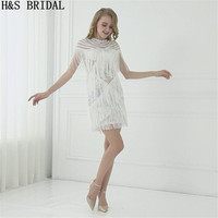 H&S BRIDAL Ivory boho wedding dress Above Knee Tassel Short lace wedding Dresses Mini beach wedding dress vestido de noiva