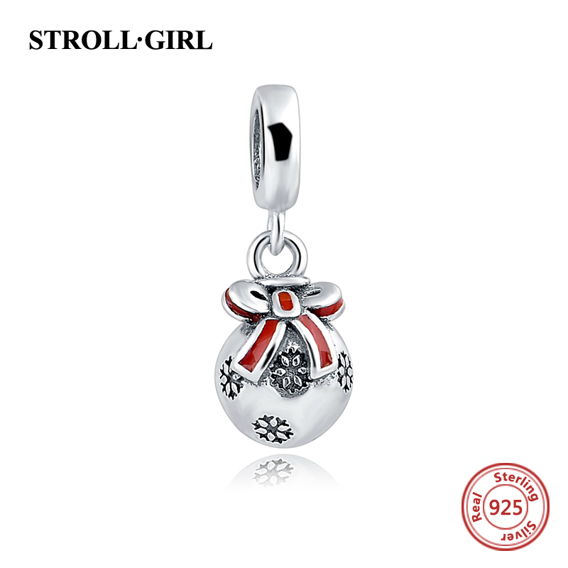 New arrival Authentic 925 Sterling Silver red enamel Bowknot dangle beads Fit pandora Charms pendant Bracelet DIY Jewelry gifts