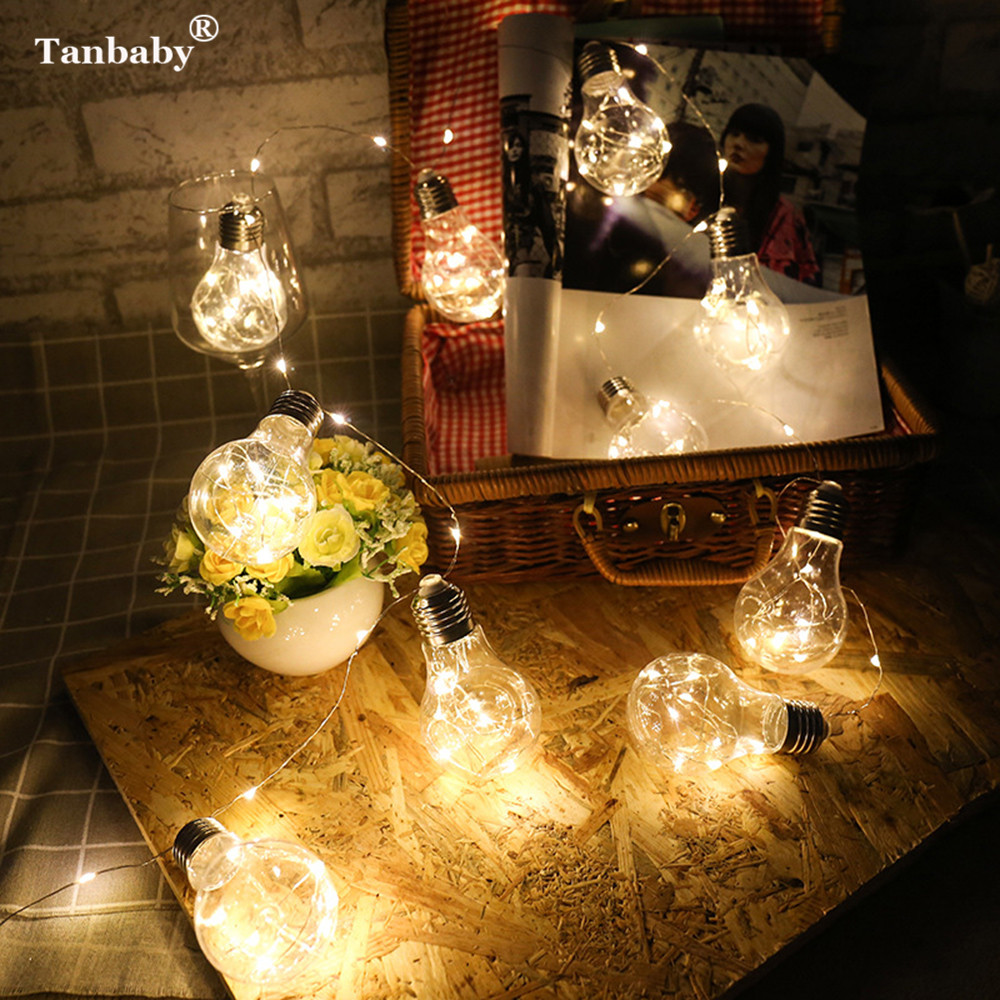Tanbaby 5M 10LED Copper Wire in Light Bulb String Fairy Light USB Power Globe Ball Edison Bulb For New Year Christmas Decoration 20pcs bulb string light