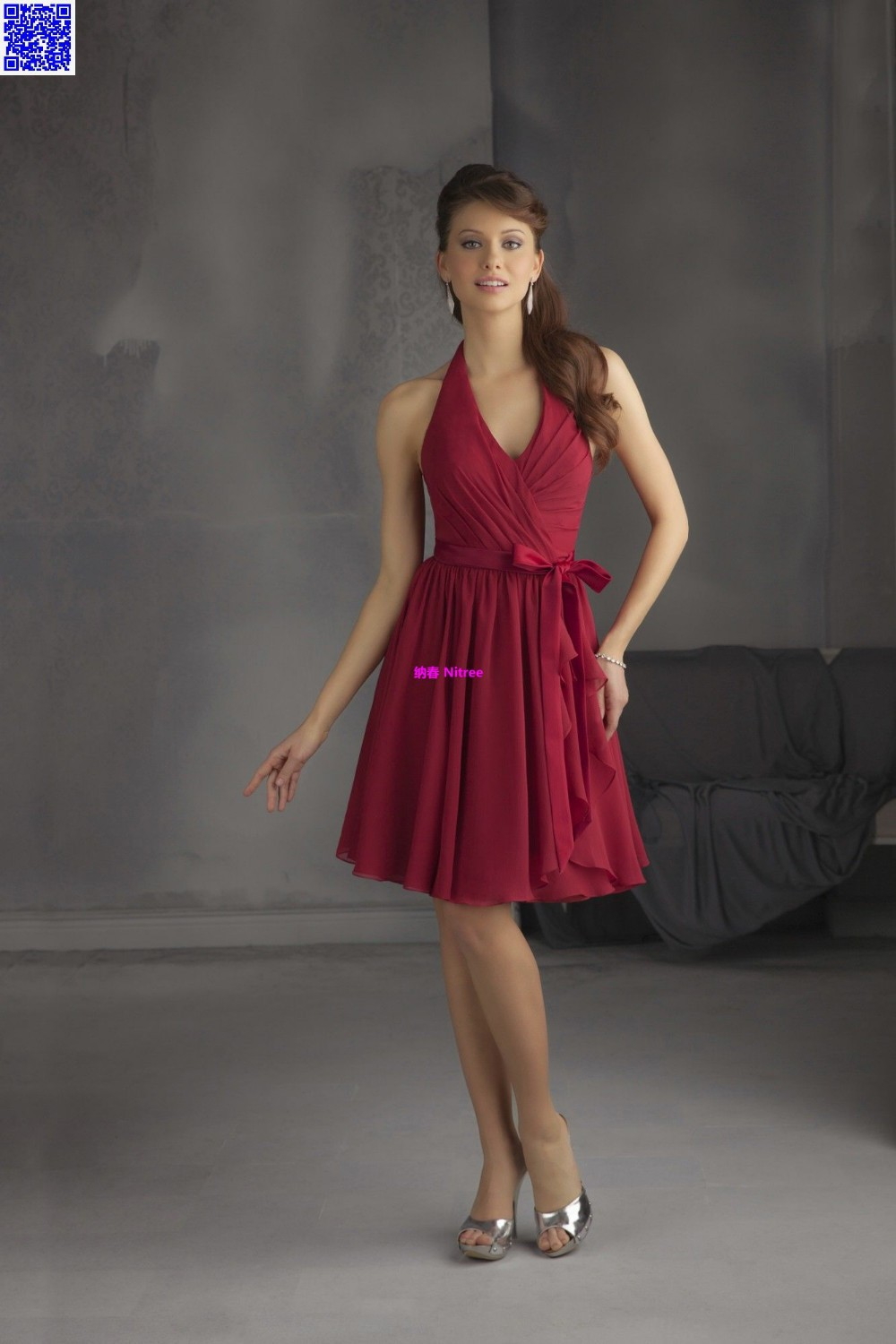 Nitree Short Crimson Bridesmaid dresses Party Gown Fashion Red Cheap ...