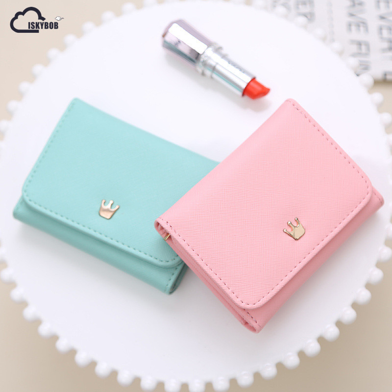 Wallet Female 2016 New Crown Lady Short Women Wallets Mini Money Purses Fold Pu Leather Bags Female Coin Purse Card Holder