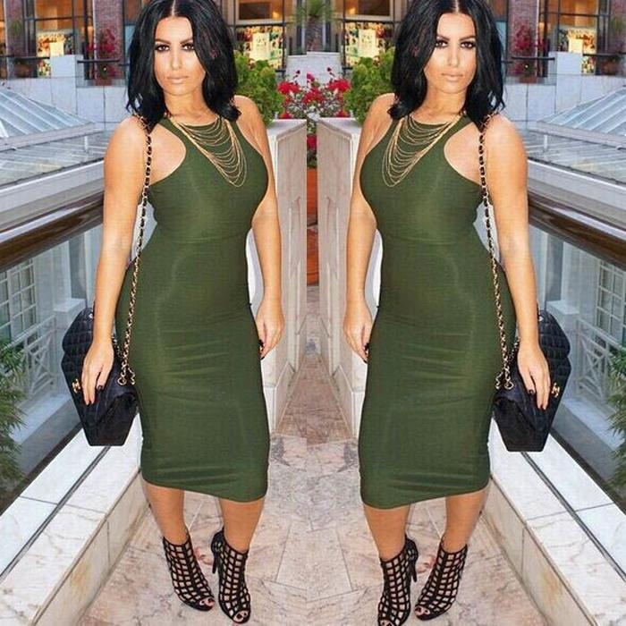<font><b>2018</b></font> Women Bandage <font><b>Dress</b></font> Summer Style <font><b>Sleeveless</b></font> <font><b>Bodycon</b></font> <font><b>Sexy</b></font> <font><b>Night</b></font> <font><b>Club</b></font> Party Red Green <font><b>Dress</b></font> Midi Tank Casual Pencil <font><b>Dresses</b></font> image