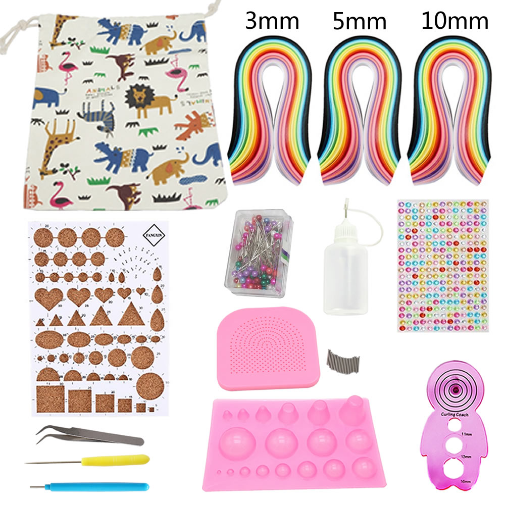Quilling Kit Paper Set with Storage Bag 780 Strips (3mm/5mm/10mm) Colorful Paper DIY Handcraft Paper Tool Set