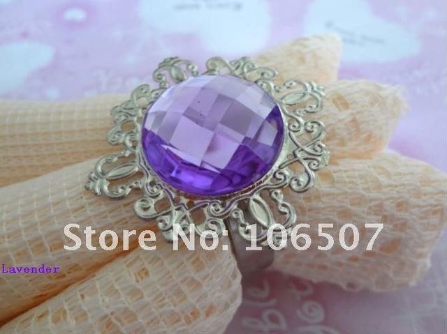 50pcs Lavender Gem Napkin Rings banquet Wedding Favour Party table decoration hot selling free shipping