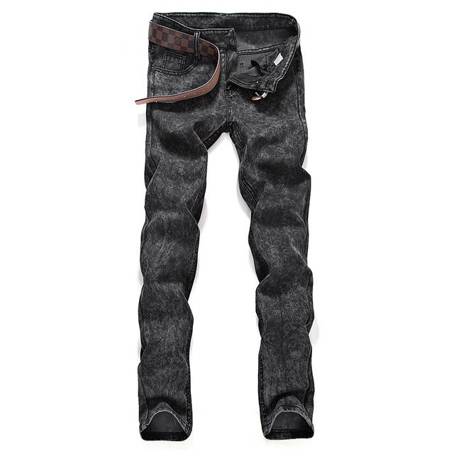 fb3f1105a20 Online Shop Left ROM 2019 New Men s Boutique Fashion Grey Slim Leisure Jeans    Male Casual Little Feet Jeans   Men Cowboy Trousers Pants