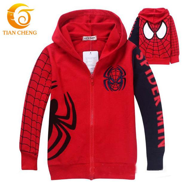 Crianças Com Capuz Spiderman Zíper Vetement Filles Meninos Meninas Crianças Hoodies Suor Manteaux Veste Roupa Dos Miúdos Para 2-8year