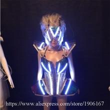 СВЕТОДИОДНЫЕ светящиеся сексуальное вечернее платье Подиум одежда Виктория Костюмы для бальных танцев сценический костюм танцевальное DJ певица Карнавальная одежда