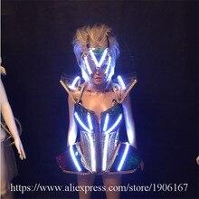 Led Leucht Sexy Abendkleid Laufsteg Kleidung Victoria Ballsaal Kostüm Bühnen Dance DJ Sänger Cosplay Kleidung