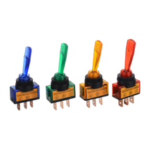 цена на 4Pcs/set 12V 20A Car Auto Blue/Red/Green/Orange LED Light Toggle Rocker Switch 3Pin SPST ON/OFF For Car Truck Boat