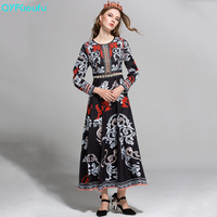 High Quality New 2017 Fashion Designer Runway Black Dress Women S Long Sleeve Floral Print Ethnic