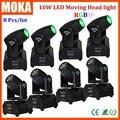 8 Pçs/lote China Moving Heads 10 W RGBW LEVOU Movendo A Cabeça Mini LED Moving Head Feixe de Luz