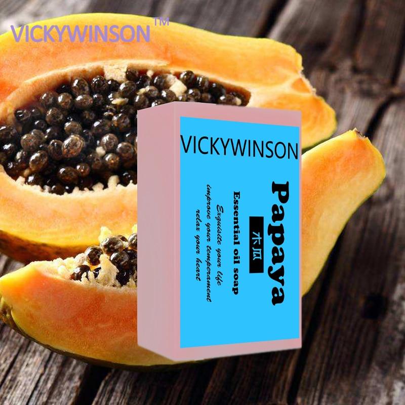 VICKYWINSON Natural Organic Herbal Green Papaya Soap Whitening Lightening Skin Handmade Soap 50g