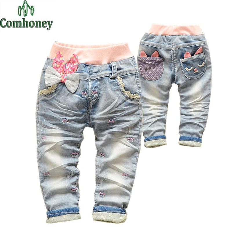 Jeans For Girls Embroidery Baby Long Pants Korean Children's Wear Lace Girls Jeans Butterfly Knotted All-match Denim Jeans Bebe