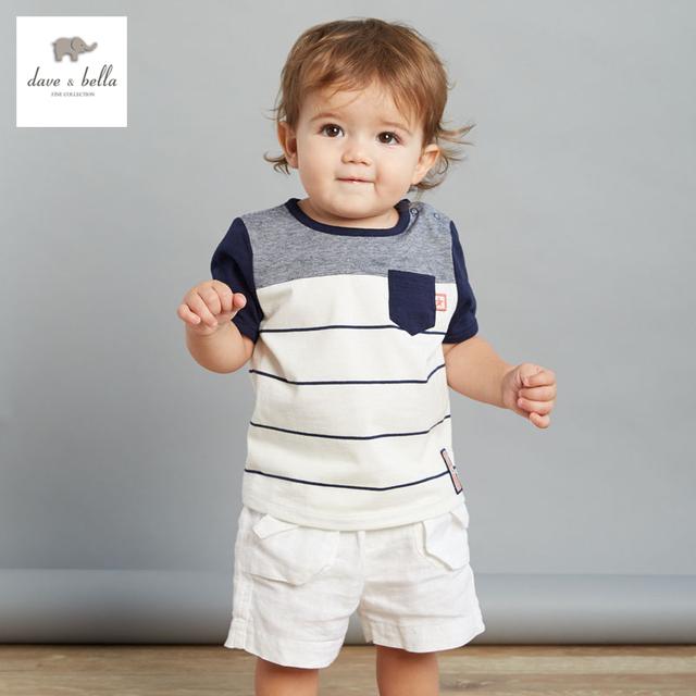 DB3064 dave bella bebé del verano del algodón t camisa ropa infantil toddle de rayas camisetas niños tops niños t-shirt
