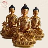 HOME Temple Phra Sompo Buddhas # India Tibetan Buddhism Amitabha Sakyamuni the Medicine Buddha Gold gilding brass statue 20CM
