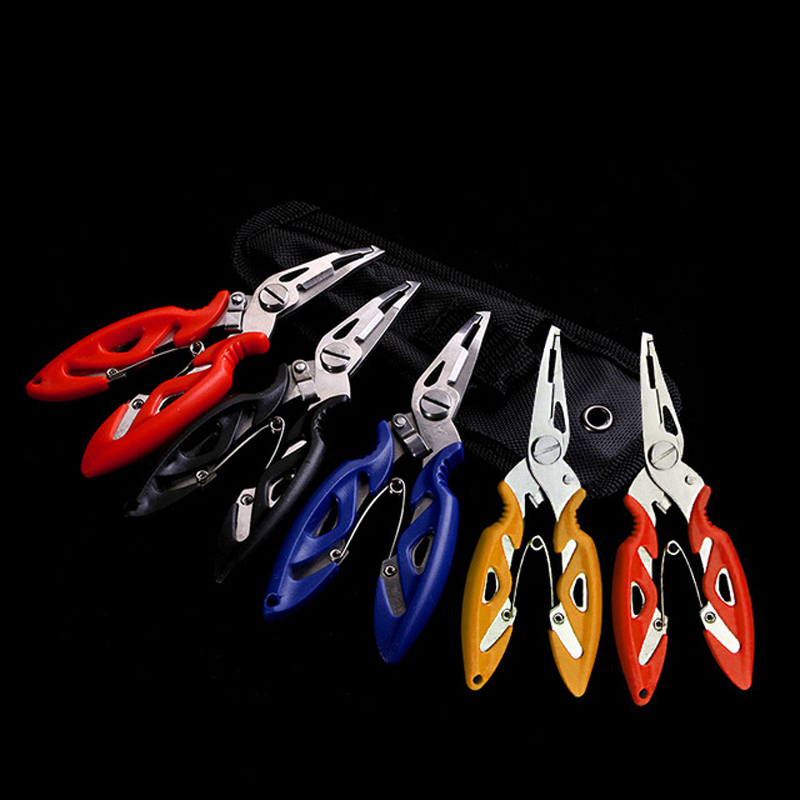 Wokotip 1PCS Stainless Steel Fishing Pliers with package 5 Colors Scissors 12.5cm Line Cutter Hook Remover Fishing Tackle Tool