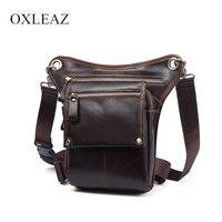 OXLEAZ Drop Waist Leg Bag Leather Genuine Waistbag Bum Bag Vintage Cow Leather Waist Packs Pouch Men Fanny Pack for Women