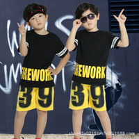 New Sportswear Boys Girls Sportswear Kids Sportswear Summer Short Sleeved 39 letter Children's Wear Hip Hop two piece set