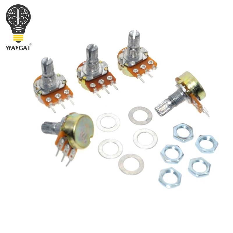 WAVGAT 10PCS WH148 Linear Potentiometer B1K B2K B5K B10K B20K B50K B100K B250K B500K B1M 15mm Shaft With Nuts Washers 3pin WH148