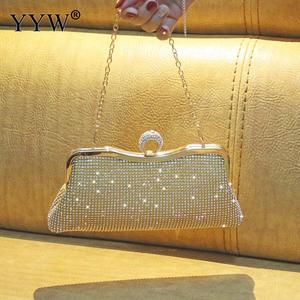 Image 5 - Vrouwen Strass Avond Clutch Bags Mini Shiny Silver Party Luxe Koppelingen Zak Goud Vrouwelijke Handtas Portemonnee Gillter Luxe Portemonnee