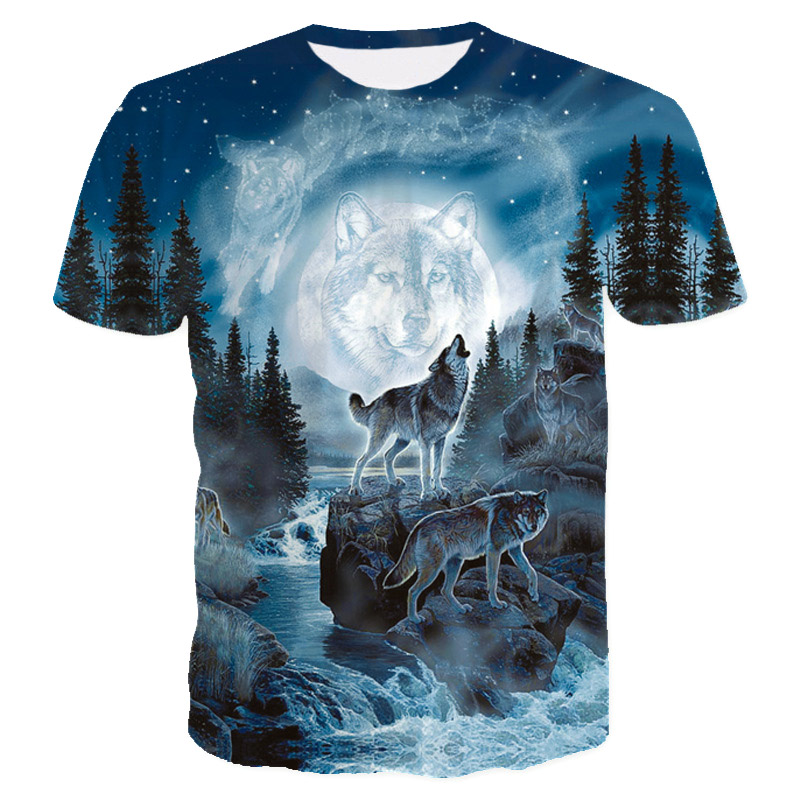 2018 New Style Brand T Shirt 3D Men Blue Space Galaxy Mountain Wolf Graphic T-Shirt Men Boy Summer Clothing Casual T shirt