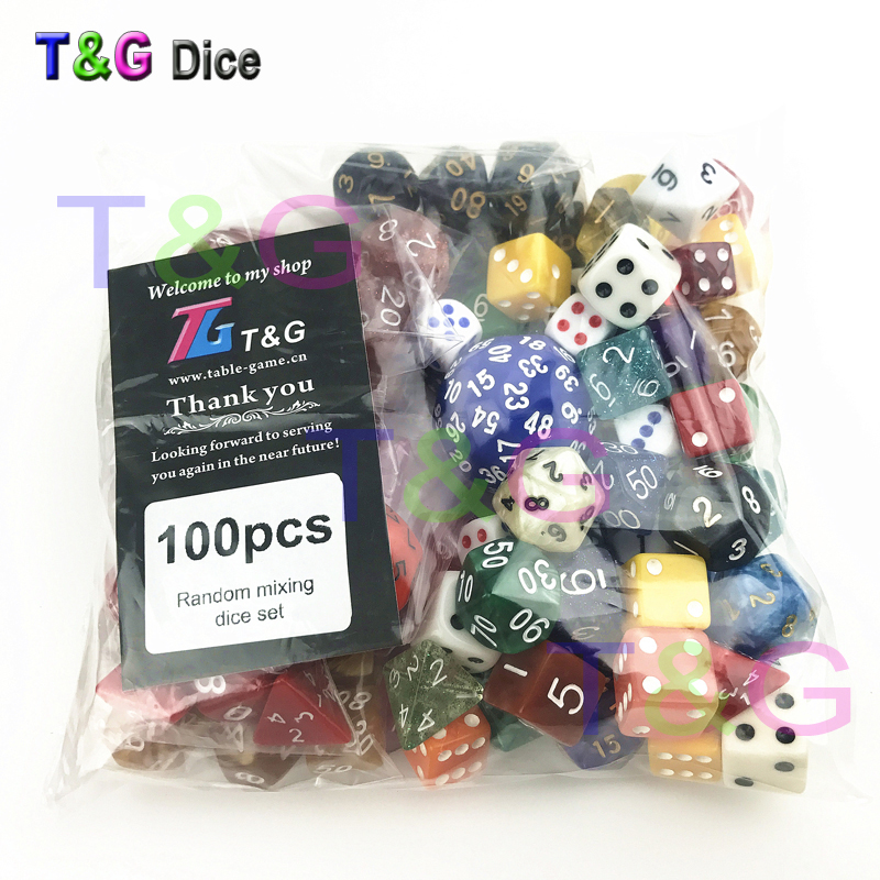 T&G Random Dice Wholesale Bulk Plastic Multi-sided Dice Set 100pcs/set In Random Color /style for Entertainment/Party Game/Gift